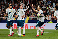 Argentina's Leo Messi (L) and Lautaro Martinez (R) celebrate goal during International Adidas Cup match between Argentina and Venezuela at Wanda Metropolitano Stadium in Madrid, Spain. March 22, 2019. (ALTERPHOTOS/A. Perez Meca)<br /> Madrid 22-03-2019 <br /> Football Friendly Match <br /> Argentina Vs Venezuela <br /> foto Alterphotos/Insidefoto <br /> ITALY ONLY