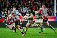 Charlie Ewels of Bath Rugby goes on the attack. Aviva Premiership match, between Gloucester Rugby and Bath Rugby on March 26, 2016 at Kingsholm Stadium in Gloucester, England. Photo by: Patrick Khachfe / Onside Images
