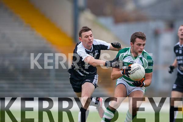 John Egan Ardfert tackles Darragh Murphy Valley Rovers during the Munster Intermediate Championship final in Fitzgerald Stadium on Saturday