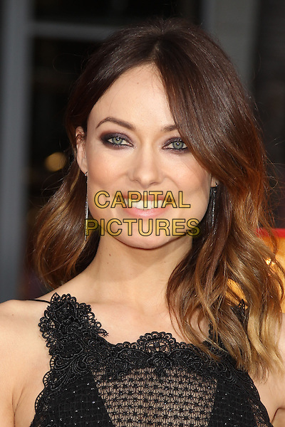 "Olivia Wilde.""The Incredible Burt Wonderstone"" Los Angeles Premiere held at the TCL Chinese Theatre, Hollywood, California, USA..March 11th, 2013.headshot portrait black lace sleeveless sheer beads beaded .CAP/CEL .©CelPh/Capital Pictures."