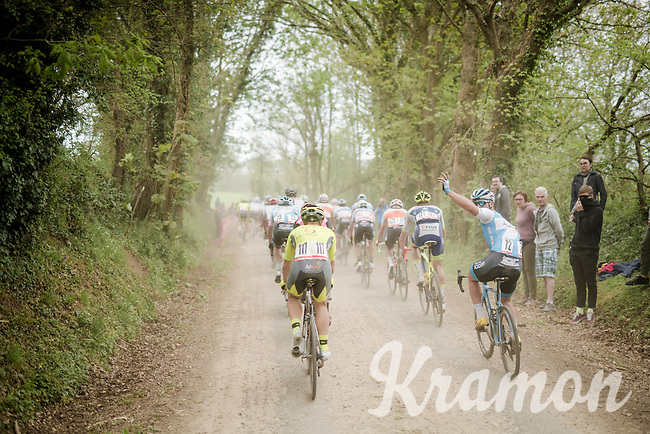 help needed in the back of the pack <br /> racing over the Breton gravel roads<br /> <br /> 36th TRO BRO LEON 2019 (FRA)<br /> One day race from Plouguerneau to Lannilis (205km)<br /> <br /> ©kramon