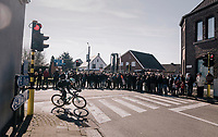 Aleksejs Saramotins (LVA/BORA-hansgrohe) leading the race (as part of the breakaway group)<br /> <br /> Omloop Het Nieuwsblad 2018<br /> Gent &rsaquo; Meerbeke: 196km (BELGIUM)