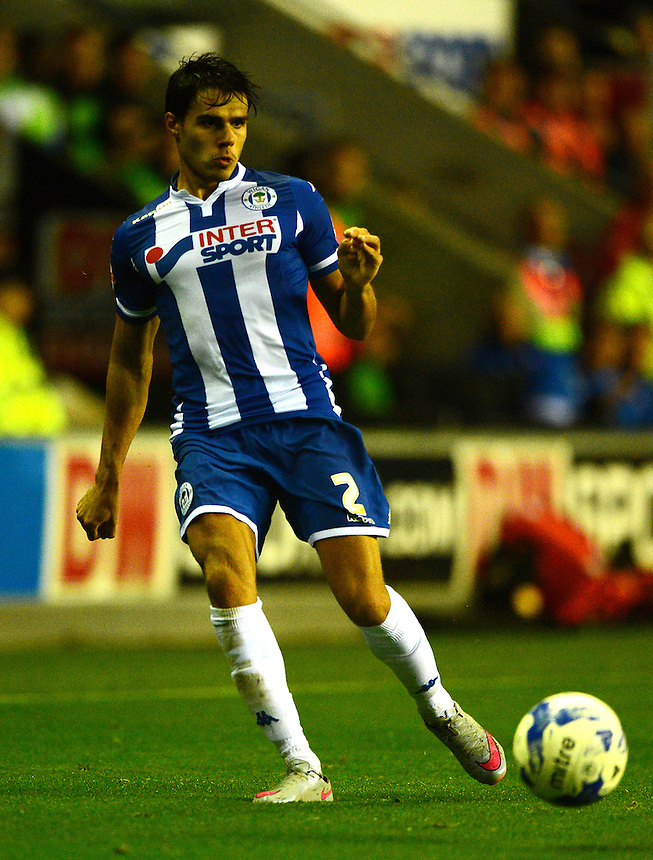 Wigan Athletic's Reece James in action<br /> <br /> Photographer Richard Martin-Roberts/CameraSport<br /> <br /> Football - The Football League Sky Bet League One - Wigan Athletic v Scunthorpe United - Wednesday 19th August 2015 - DW Stadium - Wigan  <br /> <br /> &copy; CameraSport - 43 Linden Ave. Countesthorpe. Leicester. England. LE8 5PG - Tel: +44 (0) 116 277 4147 - admin@camerasport.com - www.camerasport.com