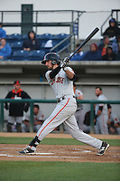 Brandon Bednar (19) of the San Jose Giants bats against the Rancho Cucamonga Quakes at LoanMart Field on May 23, 2016 in Rancho Cucamonga, California. San Jose defeated Rancho Cucamonga, 4-2. (Larry Goren/Four Seam Images)