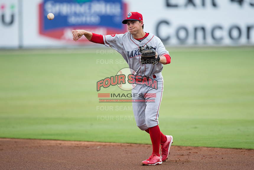 Lakewood BlueClaws second baseman Scott Kingery (18) makes a throw to first base against the Kannapolis Intimidators at Intimidators Stadium on July 14, 2015 in Kannapolis, North Carolina.  The Intimidators defeated the BlueClaws 8-2.  (Brian Westerholt/Four Seam Images)