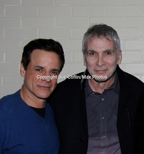 Christian LeBlanc; Jamies Michael Gregary (was on YR and also BB, GL, Ryan's Hope and now Director of Development at the Lyric Opera House) - The Young and The Restless - Genoa City Live celebrating over 40 years with on February 27. 2016 at The Lyric Opera House, Baltimore, Maryland on stage with questions and answers followed with autographs and photos in the theater.  (Photo by Sue Coflin/Max Photos)
