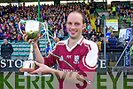 Causeway captain Derek O'Carroll with the cup after winning the County Intermediate Hurling Final over Kilmoyley at Austin Stack Park Tralee on Sunday.