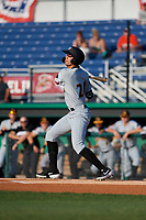 West Virginia Black Bears Blake Sabol (24) bats during a NY-Penn League game against the Batavia Muckdogs on June 26, 2019 at Dwyer Stadium in Batavia, New York.  Batavia defeated West Virginia 4-2.  (Mike Janes/Four Seam Images)