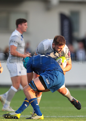 25th August 2017, Donnybrook Stadium, Dublin, Ireland; Pre Season Rugby Friendly; Leinster Rugby versus Bath Rugby; Will Connors (Leinster) tackles Elliott Stooke (Bath)