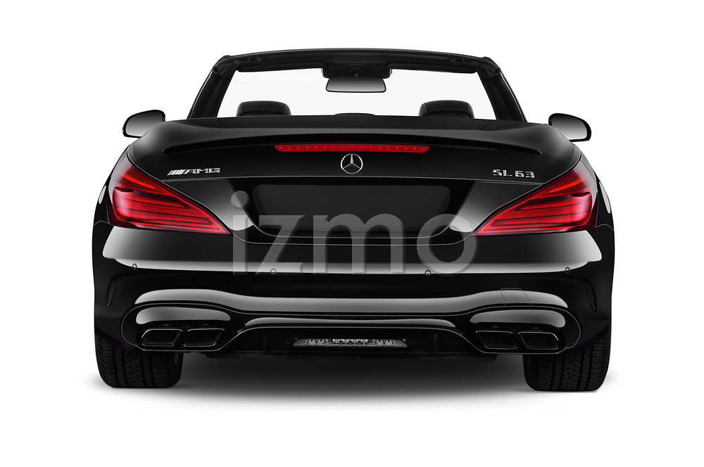 Straight rear view of 2017 Mercedes Benz SL AMG 63 2 Door Convertible stock images