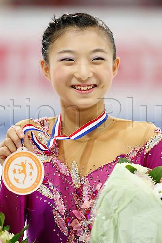 09.12.2016. Palais Omnisports, Marseille, France. ISU Junior Figure Skating Grand Prix Final.  Kaori Sakamoto (JPN) holds up her medal.
