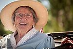 Independence Day celebration Main Street, Mokelumne Hill, California..Grand Marshall of the parade, Mary Garamendi, 91 years old