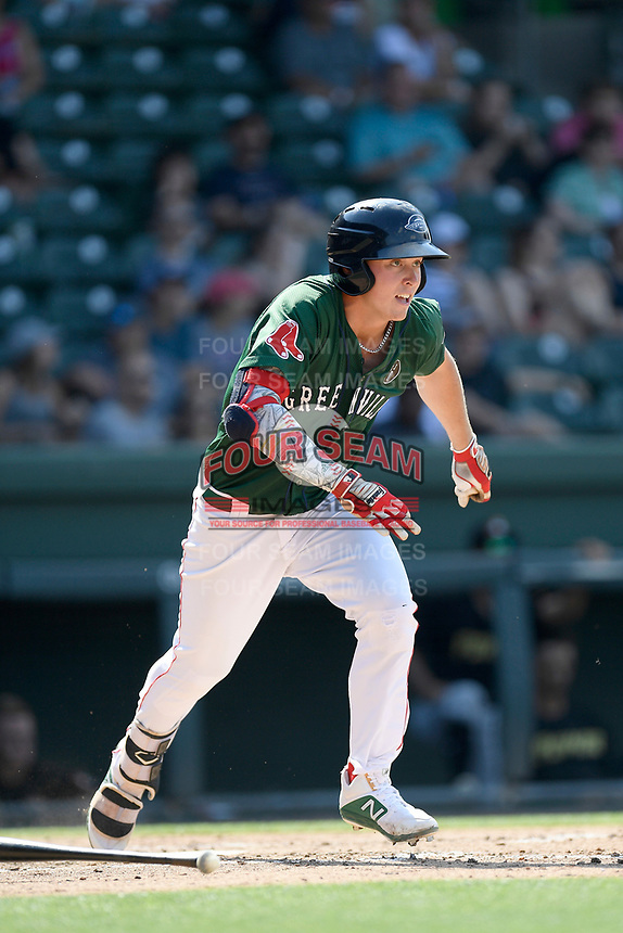 Right fielder Tyler Esplin (25) of the Greenville Drive runs toward first base in a game against the West Virginia Power on Sunday, May 19, 2019, at Fluor Field at the West End in Greenville, South Carolina. Greenville won, 8-4. (Tom Priddy/Four Seam Images)