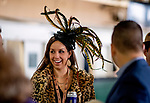 November 2, 2018: A woman wears a feathered fascinator on Breeders' Cup World Championship Friday at Churchill Downs on November 2, 2018 in Louisville, Kentucky. Scott Serio/Eclipse Sportswire/CSM