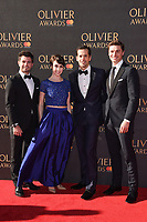Leanne Cope, Robert Fairchild &amp; Ashley Day at The Olivier Awards 2017 at the Royal Albert Hall, London, UK. <br /> 09 April  2017<br /> Picture: Steve Vas/Featureflash/SilverHub 0208 004 5359 sales@silverhubmedia.com