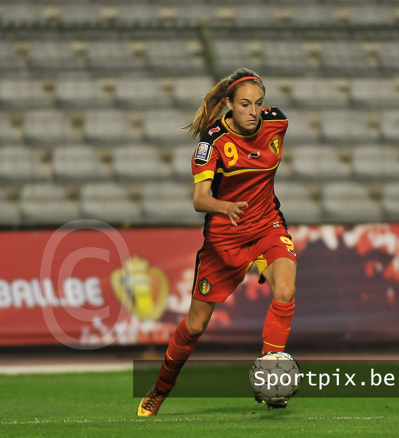 20130921 - BRUSSELS , BELGIUM : Belgian Tessa Wullaert pictured during the female soccer match between Belgium and Albania , on the first matchday in group 5 of the UEFA qualifying round to the FIFA Women World Cup in Canada 2015 at the Koning Boudewijn Stadion , Brussels . Saturday 21th September 2013. PHOTO DAVID CATRY