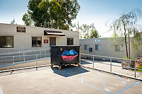 Trailers. One of many dumpsters painted by students as part of the Dumpster Art Project, sponsored by the Office of Sustainability. Photographed June 8, 2018.<br /> (Photo by Marc Campos, Occidental College Photographer)