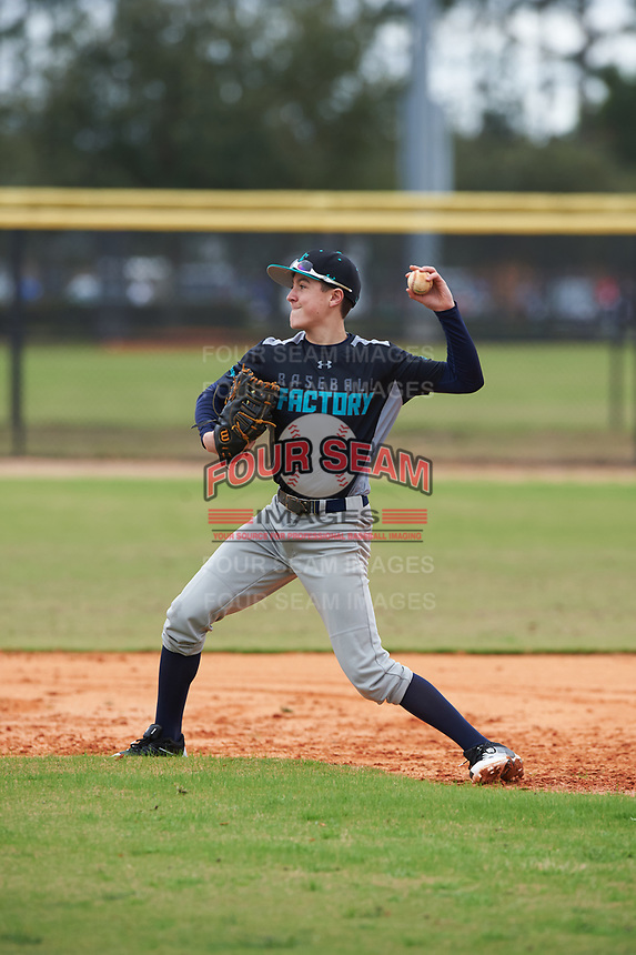 Michael Walsh (4) of Lansdowne, Virginia during the Baseball Factory All-America Pre-Season Rookie Tournament, powered by Under Armour, on January 13, 2018 at Lake Myrtle Sports Complex in Auburndale, Florida.  (Michael Johnson/Four Seam Images)
