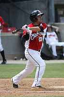 Sean Danielson #8 of the Carolina Mudcats at bat during a game against the West Tenn Diamond Jaxx on May 30, 2010 in Zebulon, NC.