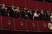 United States President George W. Bush and first lady Laura Bush attend the Kennedy Center Honors at the John F. Kennedy Center for the Performing Arts in Washington, D.C. on Sunday, December 2, 2001. This year's honorees are, left to right, pianist Van Cliburn, actor Jack Nicholson, singer Julie Andrews, opera singer Luciano Pavarotti, and music maestro Quincy Jones. Secretary of State Colin Powell and his wife Alma are on the right..Credit: Robert Trippett - Pool via CNP