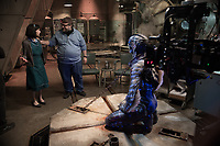 The Shape of Water (2017) <br /> Behind the scenes photo of Guillermo del Toro, Doug Jones &amp; Sally Hawkins<br /> *Filmstill - Editorial Use Only*<br /> CAP/MFS<br /> Image supplied by Capital Pictures