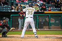 Ryan Wheeler (35) of the Salt Lake Bees at bat against the Sacramento River Cats in Pacific Coast League action at Smith's Ballpark on April 17, 2015 in Salt Lake City, Utah.  (Stephen Smith/Four Seam Images)