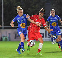 20190823 – OOSTAKKER, BELGIUM : Gent's Elena Dhont (L) and Standard's Justine Blave (R)  pictured during a women soccer game between AA Gent Ladies and Standard Femina de Liege on the first matchday of the Belgian Superleague season 2019-2020 , the Belgian women's football  top division , friday 23 th August 2019 at the PGB Stadium Oostakker in Gent  , Belgium  .  PHOTO SPORTPIX.BE | DIRK VUYLSTEKE