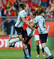 20170720 - BREDA , NETHERLANDS : Belgian Tessa Wullaert and Tine De Caigny (right) pictured celebrating after Belgium is taking the lead with 0-1 after a goal from Elke Van Gorp (middle) during the female soccer game between Norway and the Belgian Red Flames  , the second game in group A at the Women's Euro 2017 , European Championship in The Netherlands 2017 , both teams lost their first game , thursday 20 th June 2017 at Stadion Rat Verlegh in Breda , The Netherlands PHOTO SPORTPIX.BE | DAVID CATRY