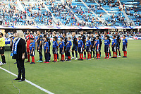 San Jose, CA - Saturday August 25, 2018: National anthem, San Jose Earthquakes  during a Major League Soccer (MLS) match between the San Jose Earthquakes and Vancouver Whitecaps FC at Avaya Stadium.
