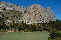 The Guadalhorce river running through El Chorro, a limestone gorge in Andalusia, Spain.