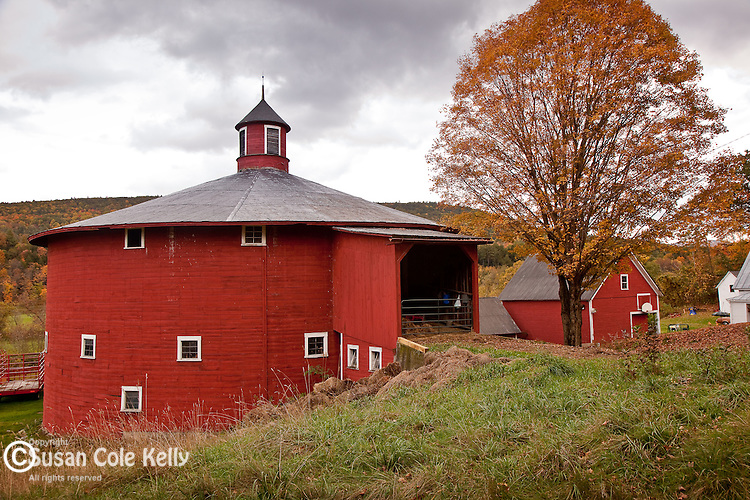 Red round barn in Barnet, Northeast Kingdom, VT, USA