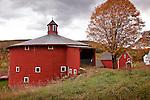 Red round barn in Barnet, Northeast Kingdom, VT, USA