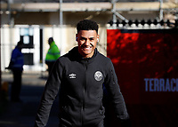 8th February 2020; Griffin Park, London, England; English Championship Football, Brentford FC versus Middlesbrough; Ollie Watkins of Brentford smiling as he arrives at Griffin Park