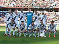 Stanford, California - Saturday June 30, 2012: Los Angeles Galaxy's starting line up before start of game against San Jose Earthquakes, at Stanford Stadium, Stanford, Ca.San Jose Earthquakes defeated Los Angeles Galaxy,  4 to 3