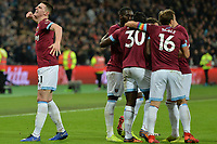 Michail Antonio scores the third Goal and celebrates with Declan Rice Of West Ham United during West Ham United vs Cardiff City, Premier League Football at The London Stadium on 4th December 2018
