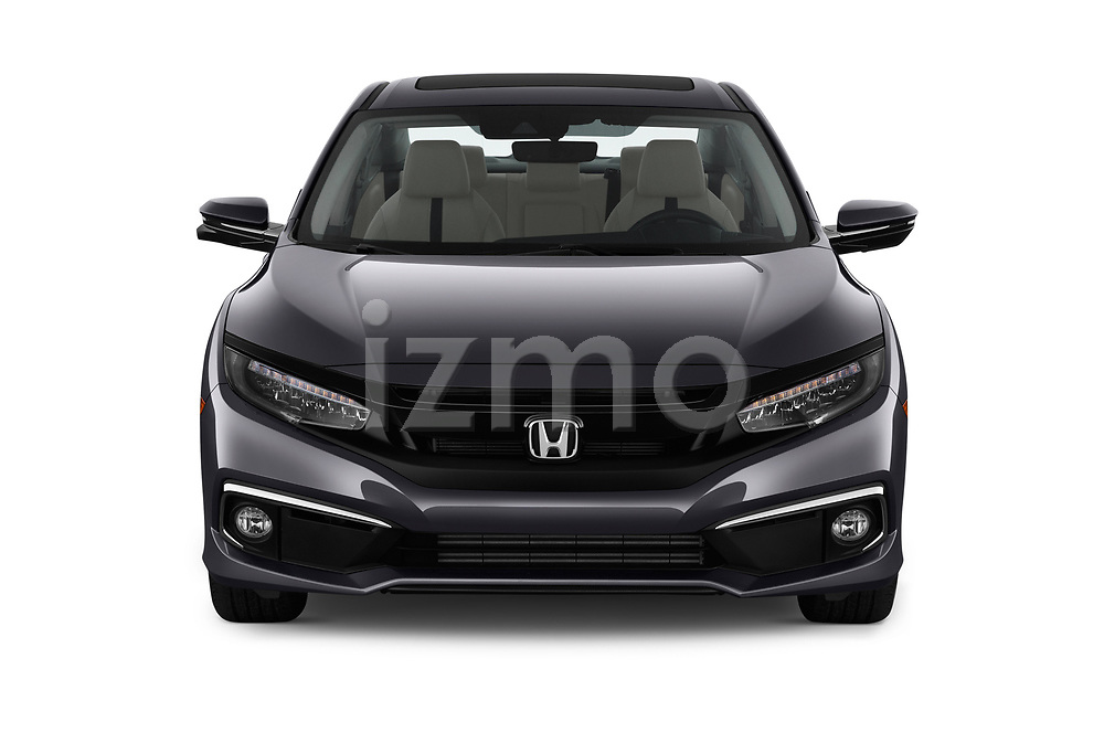 Car photography straight front view of a 2019 Honda Civic-Sedan Touring 4 Door Sedan Front View