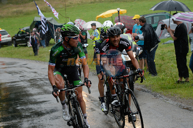 Thomas Voeckler (FRA) Europcar and Amael Moinard (FRA) BMC in the breakaway during Stage 10 of the 2014 Tour de France running 161.5km from Mulhouse to La Planche des Bellles Filles. 14th July 2014.<br /> Photo ASO/B.Bade/www.newsfile.ie