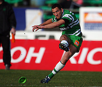 Manawatu first five Aaron Cruden kicks for goal during the Air NZ Cup preseason match between Manawatu Turbos and Wellington Lions at FMG Stadium, Palmerston North, New Zealand on Friday, 17 July 2009. Photo: Dave Lintott / lintottphoto.co.nz