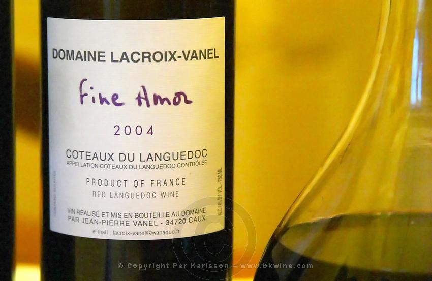 Cuvee Fine Amor. Domaine Lacroix-Vanel. Caux. Pezenas region. Languedoc. France. Europe. Bottle.