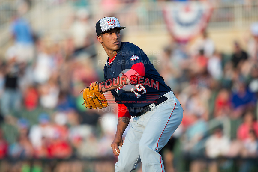 Hagerstown Suns starting pitcher Joan Baez (19) in action against the Kannapolis Intimidators at Kannapolis Intimidators Stadium on July 4, 2016 in Kannapolis, North Carolina.  The Intimidators defeated the Suns 8-2.  (Brian Westerholt/Four Seam Images)
