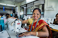 India, Maharashtra, Mumbai, Bombay. Women, who were once sex-workers, now work tailoring at Somerset through the Aruna Project.