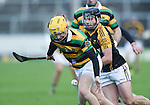 Gavin Moylan of Glen Rovers in action against Patjoe Connolly of Ballyea during their Munster Club hurling final at Thurles. Photograph by John Kelly.