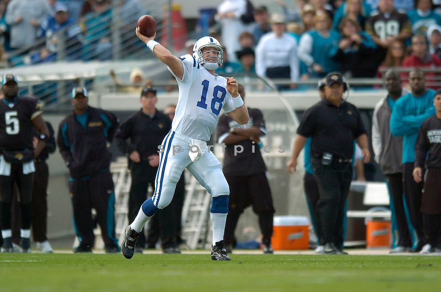 PEYTON MANNING, of the Indianapolis Colts during their game  against the Jacksonville Jaguars on December 10, 2006 in Jacksonville, FL...Jaguars win 44-17..DAVID DUROCHIK / SPORTPICS
