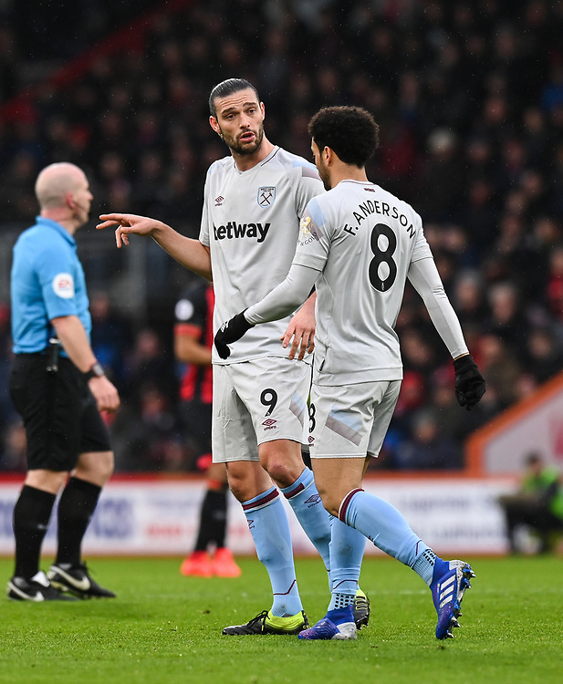 West Ham United's Andy Carroll (left) chatting to team mate West Ham United's Felipe Anderson <br /> <br /> Photographer David Horton/CameraSport<br /> <br /> The Premier League - Bournemouth v West Ham United - Saturday 19 January 2019 - Vitality Stadium - Bournemouth<br /> <br /> World Copyright &copy; 2019 CameraSport. All rights reserved. 43 Linden Ave. Countesthorpe. Leicester. England. LE8 5PG - Tel: +44 (0) 116 277 4147 - admin@camerasport.com - www.camerasport.com