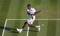 Gael Monfils (FRA) during his victory against Kevin Anderson (RSA) in their Men's Singles Fourth Round match<br /> <br /> Photographer Rob Newell/CameraSport<br /> <br /> Wimbledon Lawn Tennis Championships - Day 6 - Saturday 7th July 2018 -  All England Lawn Tennis and Croquet Club - Wimbledon - London - England<br /> <br /> World Copyright &Acirc;&copy; 2017 CameraSport. All rights reserved. 43 Linden Ave. Countesthorpe. Leicester. England. LE8 5PG - Tel: +44 (0) 116 277 4147 - admin@camerasport.com - www.camerasport.com