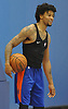 Trey Burke of the New York Knicks grins during practice at Madison Square Garden Training Center in Greenburgh, NY on Friday, Sept. 28, 2018.
