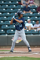 Blake Perkins (22) of the Wilmington Blue Rocks at bat against the Winston-Salem Warthogs at BB&T Ballpark on July 17, 2019 in Winston-Salem, North Carolina. The Blue Rocks defeated the Warthogs 4-1. (Brian Westerholt/Four Seam Images)
