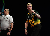 11th January 2018, Brisbane Royal International Convention Centre, Brisbane, Australia; Pro Darts Showdown Series; Simon Whitlock (AUS) Celebrates scoring a 180 in Quarter Final action against Ray O'Donnell (AUS)