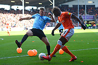 Blackpool's Armand Gnanduillet vies for possession with Southend United's Michael Turner<br /> <br /> Photographer Richard Martin-Roberts/CameraSport<br /> <br /> The EFL Sky Bet League One - Blackpool v Southend United - Saturday 9th March 2019 - Bloomfield Road - Blackpool<br /> <br /> World Copyright © 2019 CameraSport. All rights reserved. 43 Linden Ave. Countesthorpe. Leicester. England. LE8 5PG - Tel: +44 (0) 116 277 4147 - admin@camerasport.com - www.camerasport.com