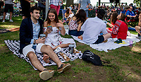 ELMONT, NY - JUNE 09: Fans enjoy a picnic during Belmont Stakes Day at Belmont Park on June 9, 2018 in Elmont, New York. (Photo by Scott Serio/Eclipse Sportswire/Getty Images)